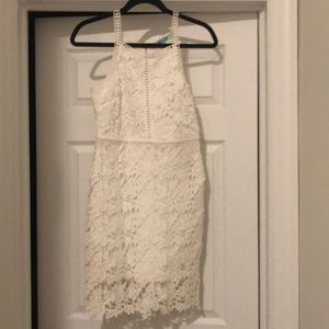 Perfect for a bridal shower, white lace dress